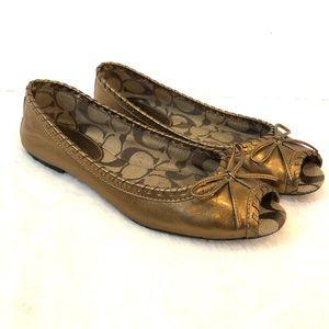 Coach Noella Bronze Copper Peep Toe Flats Shoes 6M